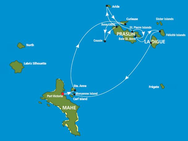 Mapa islas Seychelles